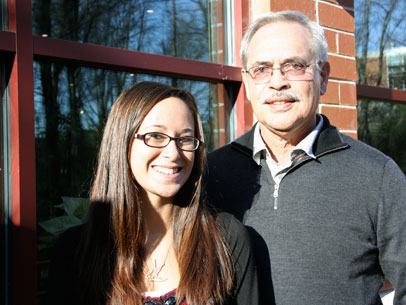 Dennis Fabella, Professor Emeritus and Annual Fund donor, with Sandra T. Fabella Endowed Scholarship recipient Krystal Bennett.
